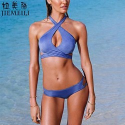 JIEMEILI Push Up Cross Solid Halter Bikinis Cotton Blends