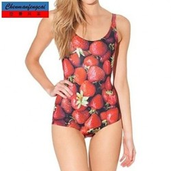 Sexy Strawberry Elasticated Swimming Suit Sexy Print Jumpsuit Bodycon One Piece