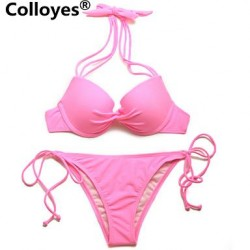 Colloyes Triangle Top With Classic Cut Bottom Padded Bras Adjustable Halter Straps Bikinis Swimwear Uk For Women Pink