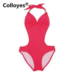 Colloyes Red One Piece With Fringe Side Cut Outs Adjustable Halter Straps Bikinis Swimwear Uk For Women