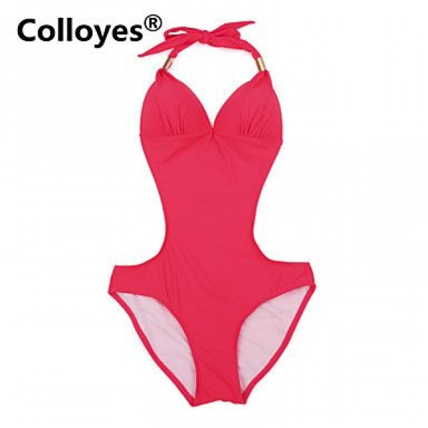 Colloyes Red One-piece with Fringe Side Cut-outs Adjustable Halter Straps Bikinis Swimwear Uk For Women