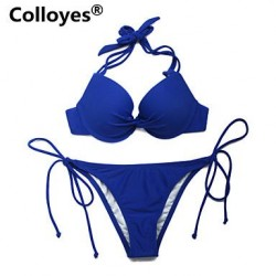 Colloyes Royal Blue Add-2-Cups Halter Top Set with Push-up Molded Cups Adjustable Halter Straps Bikinis Swimwear Uk For Women