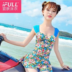 Woman fashion sexy swimsuit flowers skirt shoulder drain