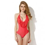 Colloyes Red One-piece with Fringe Side Cut-outs Bikinis Swimwear Uk For Women