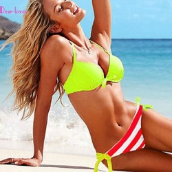 Push-up/Underwire Bra/Padless Bra Color Block/Floral/Bandage Halter Bikinis (Polyester/Spandex)