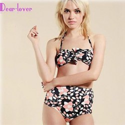 Push Up Underwire Bra Padless Bra High Rise Floral Bandage Bandeau Bikinis Polyester Spandex