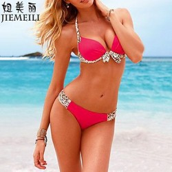 JIEMEILI Push-up Leopard Stitching Halter Bikinis (Cotton Blends)