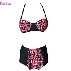 Push Up Underwire Bra Padless Bra High Rise Color Block Bandage Geometric Halter Bikinis Polyester Spandex