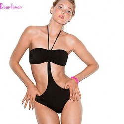 Push Up Wireless Padded Bras Solid Bandage Halter One Pieces Polyester Spandex