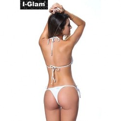 I Glam Bikini Lingerie Thong String Brazilian Swimwear Uk For Women Tiny Micro Black Bottom Sheer Top Beach Wear Black