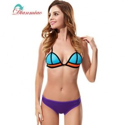 Sexy Swimwear Uk For Women Bikini Neoprene Swimsuit Uk For Women Straps Back Buckle Mesh Splice Color BK 25