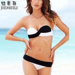 JIEMEILI Push Up Color Block Bandeau Bikinis Cotton Blends
