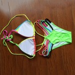 JIEMEILI Push-up Color Block Halter Bikinis (Cotton Blends)