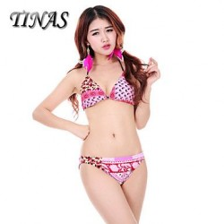 Wireless/Padded Bras High Rise/Color Block/Floral Halter Tankinis (Nylon/Polyester)