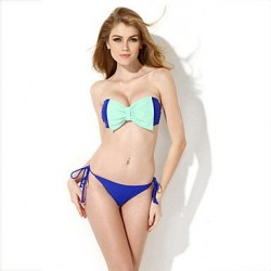 New Arrive Summer Sexy Royal Blue Bandeau Top Low Waist Bikini Swimwear Uk For Women