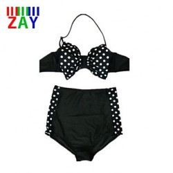 Sexy Push Up High Rise Dot Halter Bikinis With Bowknot