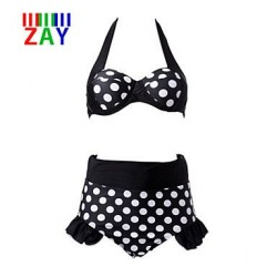 Vintage Straped High Waist Dot Bikinis Sets