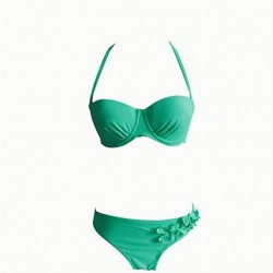 Underwire Bra Solid Straped Bikinis (Nylon/Polyester) With Flower Green Color Push Up Bikini Sets 40