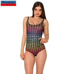 Swimwear Uk For Women Fashion Color Grids Print Sexy Bodycon One Piece Swimsuit Uk For Women Casual Siamesed Underwear
