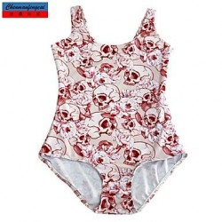 Swimwear Uk For Women Fashion Skull Print Sexy Bodycon One-piece Swimsuit Uk For Women Casual Siamesed Underwear