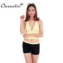 Wireless Padded Bras Floral Dot Ruffle Solid Bandage Bandeau Tankinis Nylon Polyester