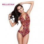 Relleciga Gypsy Style Pattern One-piece Swimsuit Uk For Women with Curve-loving Silhouette at Back