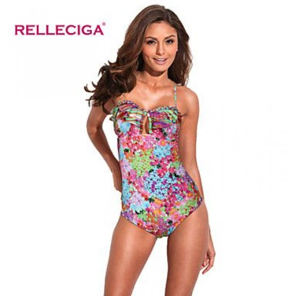 Relleciga Digital Floral Print Bikini Series One-piece Swimsuit Uk For Women with Ruffle & Braided Detail at Front