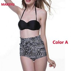 MAKEYU Gathered Tall Waist Fission Bikini Swimwear Uk For Women