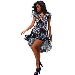 Summer Clothes 2019 New Arrival Bohemian Style Floral Print Beach Dress Casual Short Sleeve Loose Summer Dress Hot Sale