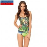 Sexy Swimwear Uk For Women Printed Stretcy Bodycon Jumpsuit One Piece Top