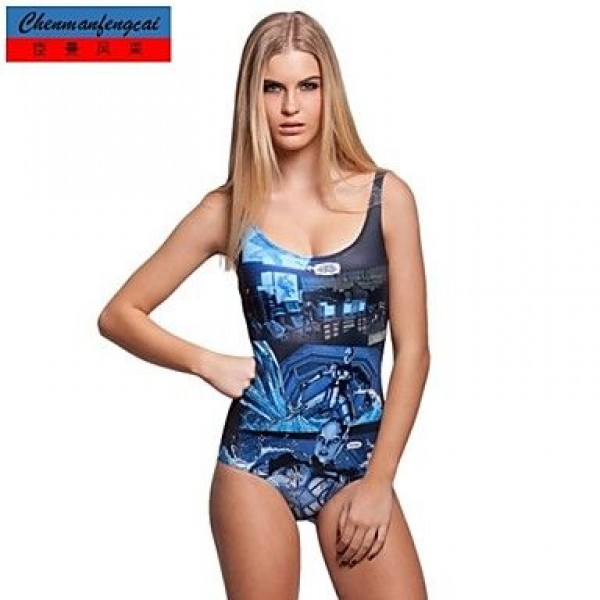Sexy Comic Strip Swimming Wear Printed Bodycon One Piece Jumpsuit Bikini