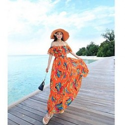 Bohemian Dress Brought Big A Word Skirt Beach Inclined Shoulder Strapless Beach Dress