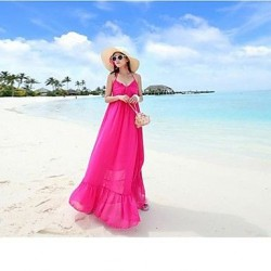 Woman's V-neck backless Bohemian dress that snow spins condole to show thin seaside holiday Beach Dress