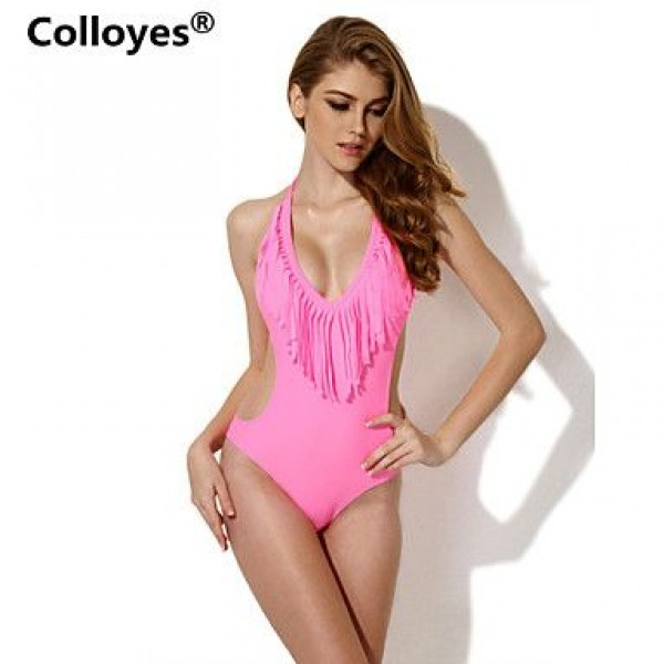 Colloyes Pink One-piece with Fringe Side Cut-outs Bikinis Swimwear Uk For Women