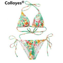 Colloyes Floral Triangle Top With Classic Cut Bottom Padded Bras Adjustable Halter Straps Bikinis Swimwear Uk For Women
