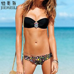 Push Up Floral Bandeau Bikinis Cotton Blends
