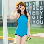 Wireless Color Block Straped One-pieces (Cotton Blends)