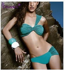 Push Up Underwire Bra Padless Bra High Rise Solid Bandage Halter Bikinis Nylon Spandex