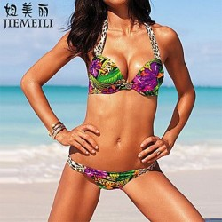 Push-up Floral Halter Bikinis (Cotton Blends)