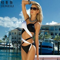 Push-up Color Block/Bandage Halter Bikinis (Cotton Blends)