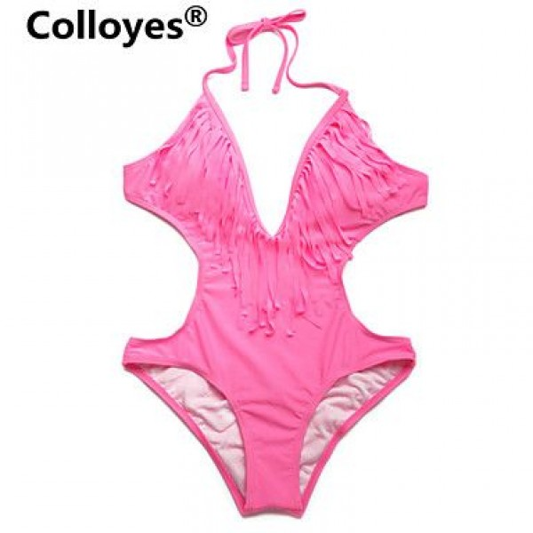 Colloyes Pink One-piece with Fringe Side Cut-outs Adjustable Halter Straps Bikinis Swimwear Uk For Women