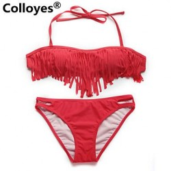 Colloyes Red Bandeau Top with Fringe Detail at Bust Removable Halter Straps Bikinis Swimwear Uk For Women