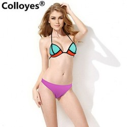 Colloyes Lace Triangle Top Soft Push-up Cups Classic Bottom Padded Bras Straped Bikinis Swimwear Uk For Women (Mint Green + Purple)