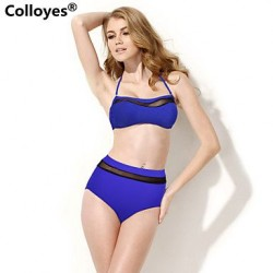 Colloyes Lace Triangle Top Soft Push-up Cups Classic Bottom Padded Bras Straped Bikinis Swimwear Uk For Women (Royal Blue)