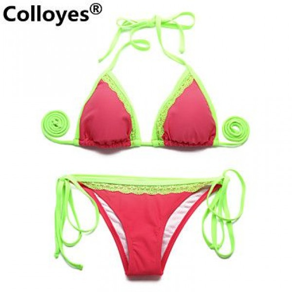 Colloyes Watermelon Red Green Light Removable Paddings Lace Triangle Top Classic Bottom Bras Straped Bikinis Swimwear Uk For Women