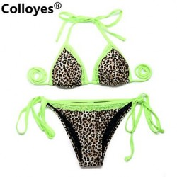 Colloyes Leopard + Green Lace Triangle Top With Classic Cut Bottom Padded Bras Straped Bikinis Swimwear Uk For Women