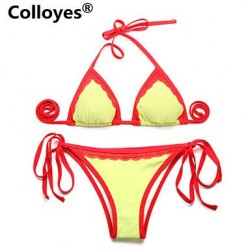 Colloyes Lace Triangle Top with Classic Cut Bottom Padded Bras Adjustable Halter Straps Bikinis Swimwear Uk For Women