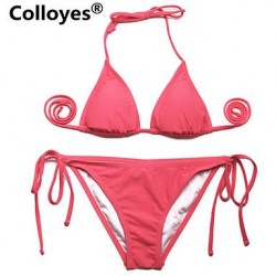 Colloyes Triangle Top With Classic Cut Bottom Padded Bras Adjustable Halter Strap Bikinis Swimwear Uk For Women