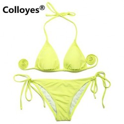 Colloyes Triangle Top with Classic Cut Bottom Padded Bras Adjustable Halter Straps Bikinis Swimwear Uk For Women