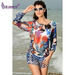 syu®Padless Bra Floral Straped Cover-Ups swimsuit (Polyester/Spandex)